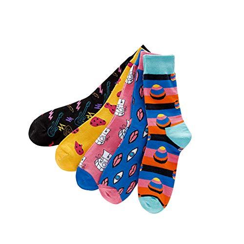 TRIWORIAE - Conjunto de 5 Pares Calcetines Colorido para Hombre de Algodón