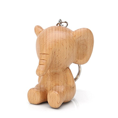 PLL Natural Beech Wood Carving Fun Elephant Shape Keychain Key Chain Car Pendant Keyring