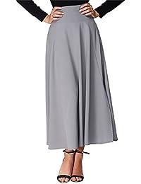 Mujer Faldas Largas Fiesta Coctel Vintage Elegantes Cintura Alta Una Línea  Swing Falda Plisada Color Sólido 4be1dc9d7efd