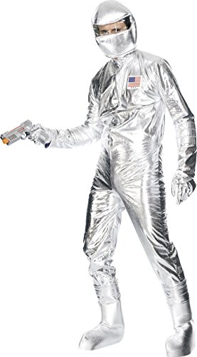 Raumfahrer-Kostüm Silber mit Overall Helm Handschuhen und Überschuhen, - Silber Kostüm Handschuhe