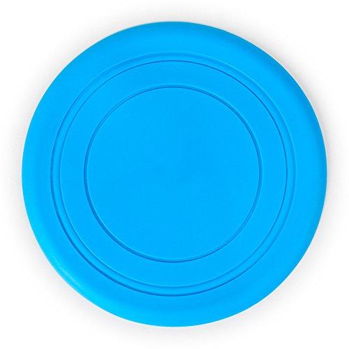 Cdet 1X Perros de silicona al aire libre de formación frisbee cachorros discos voladores de juguete buscar perro Color Azul