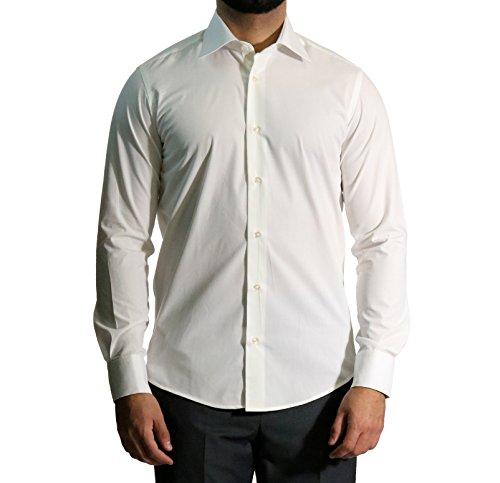 MUGA Homme Chemise à manches extra longues, cintrée Crème