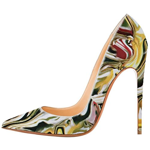 Arc-en-Ciel Damenschuhe multi Farbe spitzen Zehe Glanzleder -Absatzpumpen Multicolor