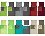 optidream Baumwolle Renforcè Bettwäsche Uni Wende in 2 Größen und 9 Modernen Farbenkombinationen 4tlg. Set 135x200 + 80x80 cm Anthrazit Grün