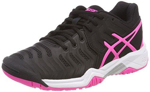 ASICS Gel-Resolution 7 GS, Scarpe da Tennis Unisex-Bambini, Nero (Black/Hot Pink/Silver 9020), 35.5 EU