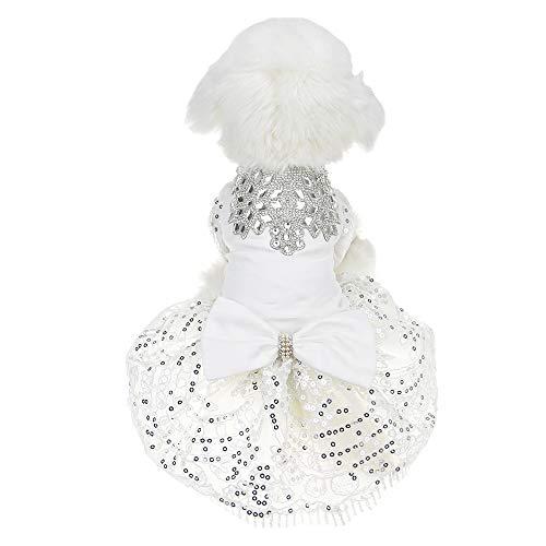 FLAdorepet Funkelnder Strass Hund Hochzeit Party Kleid Tutu Rock Luxus Spitze Schleife Kleid Braut Kostüm für kleine Hunde Haustier ()