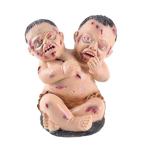 SM SunniMix Zombie Baby Deko Figur mit Doppelköpfen, Größe: 20 x 22 x 30 cm