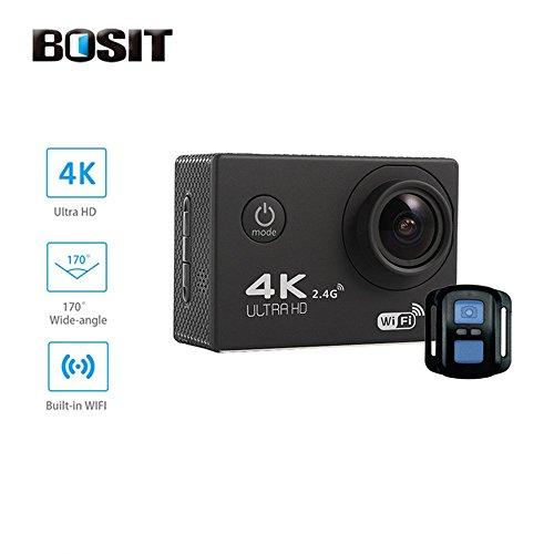 Bosit azione Camara, cinturino 2.4G Wireless RF telecomando, 4K HD Sports Action Camera, 12MP WiFi impermeabile camera 170gradi di angolo di vista largo 5,1cm schermo LCD/19Accessori kits- giallo, Black