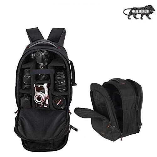 Smiledrive DSLR Camera Backpack Bag with Laptop Compartment & Well Padded Adjustable Grids for Lenses & Accessories-Made in India