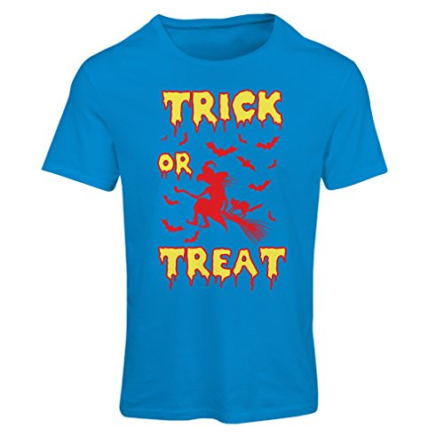 Frauen T-Shirt Trick or Treat - Halloween Witch - Party outfites - Scary costume (XX-Large Blau Mehrfarben)