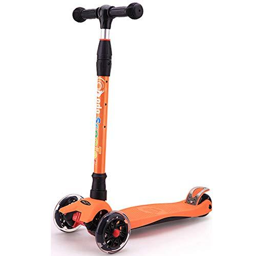 Gjzww Kinder Falten Roller 2-6 Jahre Alt PU-Blitzrad Im Freien Dreirädrige Roller Baby Zerle Gungsroller Männer Und Frauen,Orange