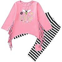 beautyjourney Bebé Niños Niñas Blusa Borla de Manga Larga Camisa Tops + Conjunto de Pantalones a Rayas Ropa de Niños