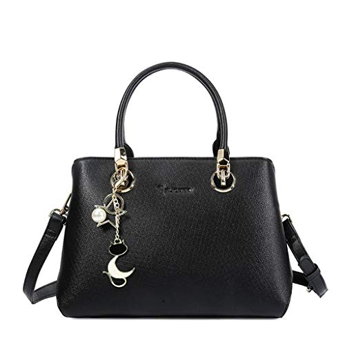 Frauen Handtasche Mode elegante Umhängetasche mit Sweet Stars Cat Charm Schulter Messenger Bag (Color : Black)