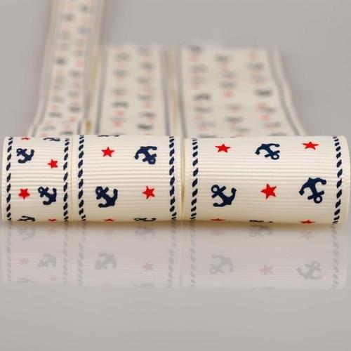 Neotrims Ripsband, nautisches Anker-Design, erhältlich in den Breiten 16 mm, 25 mm, 38 mm Ripsband mit Sternen und Ankern aus weichem Polyester; erhältlich in den Breiten 16 mm, 25 mm, 38 mm; erhältlich als 3er-Set (3 Bänder á 3m) oder einzeln (1 Band á 3m) Einzigartiges Design Kann zurechtgeschnitten und verziert werden, Elfenbein, 3 meters of each Size, Total 9 meters