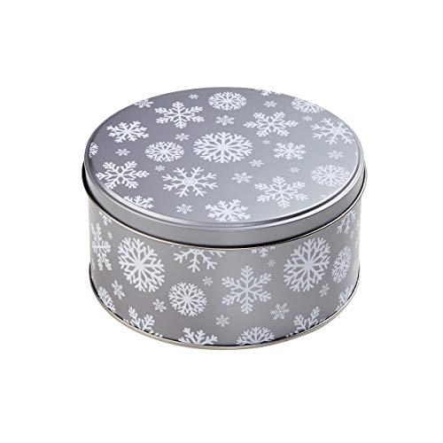 BUTLERS COOKIE JAR Dose für Plätzchen Schneeflocke Ø 13,5 cm - Keksdose in Grau mit verschiedenen Weihnachts-Motiven - Cookies Jar In