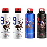 AmazedDeal Beverly Hills Polo Club Two No.9 , One No.8 & One No.2 Deodorant For Men(Pack Of 4)Combo Pack