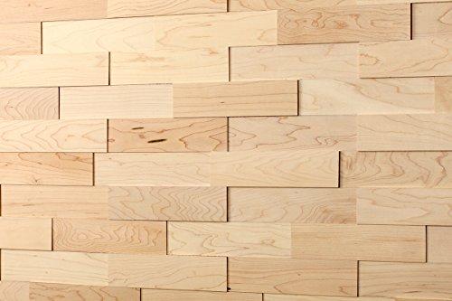 wodewa Wandverkleidung Holz 3D Optik I Ahorn I 1m² Wandpaneele Moderne Wanddekoration Holzverkleidung Holzwand Wohnzimmer Küche Schlafzimmer I Geölt -
