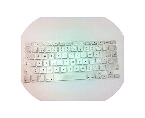 Tastaturfolie EU Spanish Keyboard Cover 2PCS Euro Version ES ESP for MacBook Air Pro Retina 13 15 Silicone Laptop Skin Protector for iMac,Silver