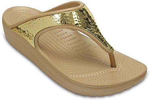 crocs Damen Sloane Embellished Sandalen Flipflops, Gold (Metallic), 33/34 EU