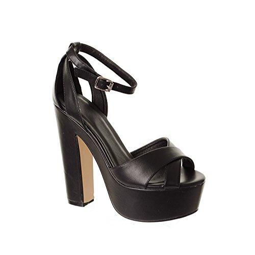 Da donna piattaforma Barely There Croce Strap Blocco Tacco Alto Partito Sandali Calzature Nero Bianco, nero (Black), 37 1/3