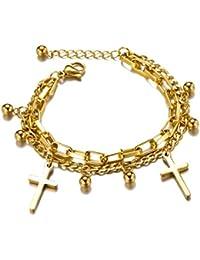 4b23d83a0008 Amazon.es  pulseras cuero niño - Chapado en oro  Joyería
