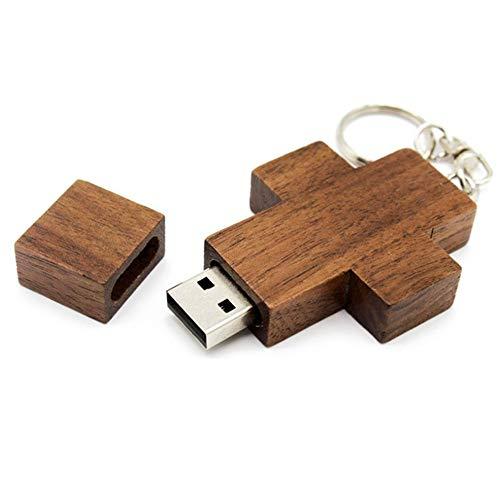 Fengwen66 disco a forma di croce usb 2.0 a forma di croce in legno di piccole dimensioni disco usb (colore del legno) -16g