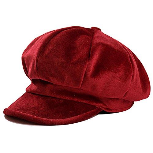 HowYouth® Unisex Damen 8 Panel Klassische Zeitungsjunge Samt Cabbie Baskenmütze Flat Cap Newsboy Schirmmütze (Rot) (Frauen Für Cap Cabbie)