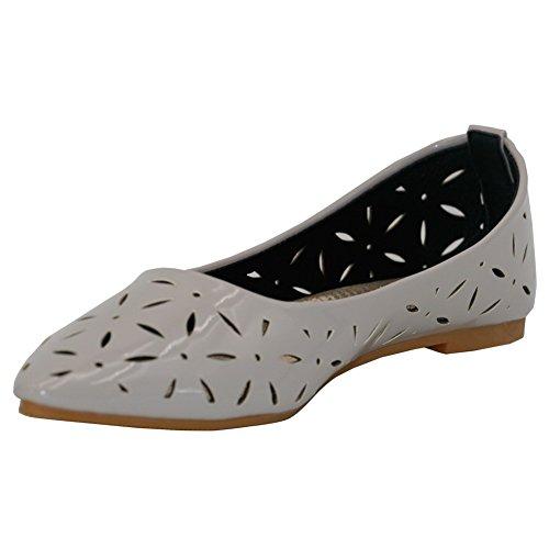 AalarDom Damen Weiches Material Spitz Zehe Ohne Absatz Rein Flache Schuhe  Grau