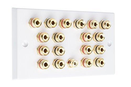 9.1 Surround Sound Lautsprecher Wandplatte mit goldenen Bindung Pfosten + RCA Buchse Kein Löten erforderlich