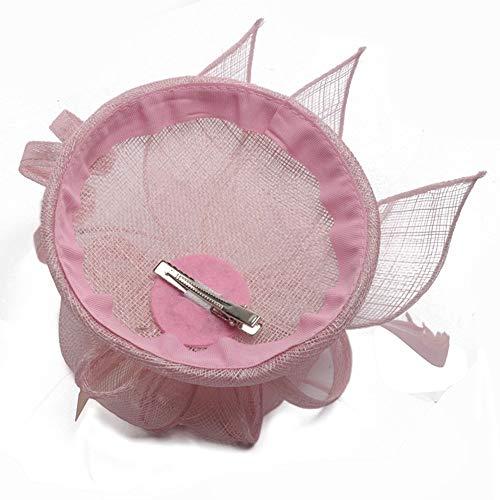 Liuzecai Eleganter Blumenhut Hut-Blumen-Maschen-Bänder versieht Stirnband Kentucky Derby-Hochzeits-Teeparty mit Federn (Color : Pink, Size : Free Size)