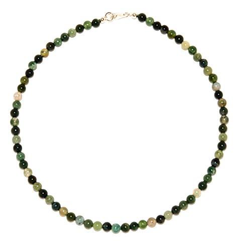 Achat Schmuck (Halskette) Moos-Achat Kette Verschluss 925er Sterling-Silber Modellnummer 4451 (Moos-achat Halskette)