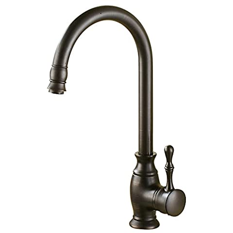 FHLYCF Kitchen sink faucet Black Bronze Copper European hot and cold water basin faucet executive Black Faux