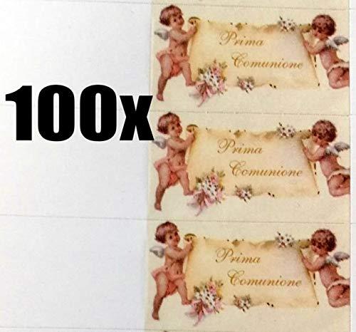 100 pz bigliettini bigliettino bomboniera prima comunione angeli e pergamena