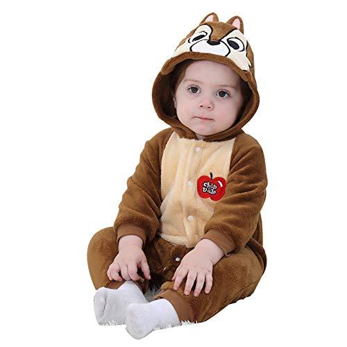 LSERVER Mameluco de Cosplay para Bebés Recién Nacidos Ropa de Arrastre Disfraz Unisexo de Franela con Capucha Estilo Animales, Ardilla, 90 (Altura Recomendada:73-80cm)