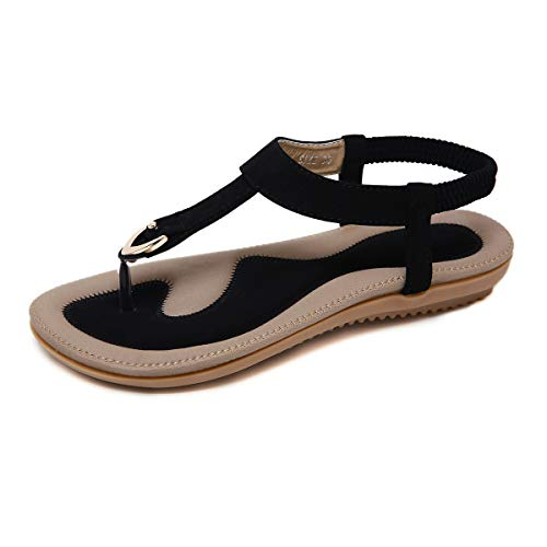 KUONUO Sandales Plates Femme, Chaussures de Ville Ete a Talons Plats Compenses Tong Confortable, Noir Beige Flip Flops Chaussure Plage Vacances, Noir, 42 EU