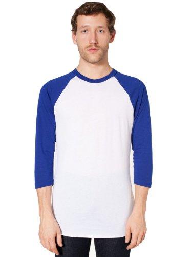American Apparel poly-cotton 3/4 Sleeve Raglan Shirt White / Lapis