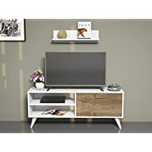 PARTY Mueble salón comedor para televisión con 1 puerta y estante - Blanco / Nogal - Mueble bajo para televisor - Mesa de Televisión en diseño elegante …