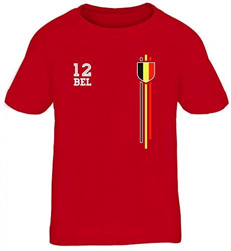 Belgium Belgique World Cup Fussball WM Fanfest Gruppen Kinder T-Shirt Rundhals Mädchen Jungen Streifen Trikot Belgien, Größe: 152/164,Rot