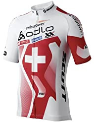 Odlo Herren Teamtrikot Radsport Stand-Up Collar Short Sleeve Full Zip Swiss Power