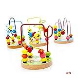 DASGF Perlenlabyrinth, Feines Holzspielzeug, Puzzle Perlen Mehr Als 12 Monate Spielzeug, PäDagogische Spielwaren Der FrüHen Kindheit, Tierorbit-Labyrinth.4PCS