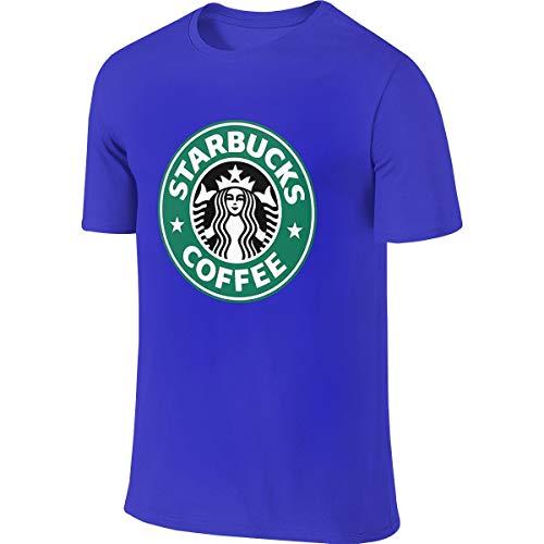Herren Sommer T-Shirt Starbucks Logo T-Shirt Freizeithemden Für Herren Große Jungen Kurzarm Rundhals Baumwolle Sport Tops Blau S
