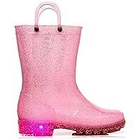 MOFEVER Kids Toddler Glitter Light up Wellies Wellingtons Rain Boots