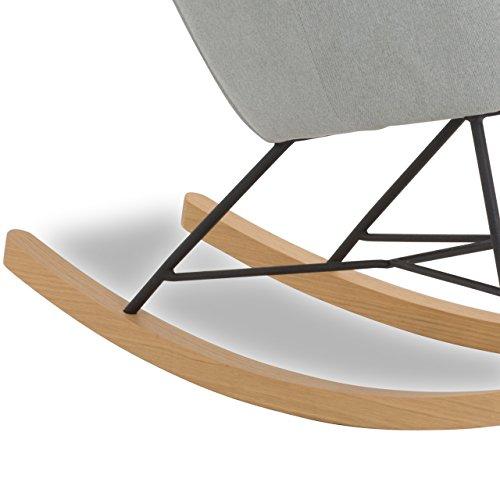 Designer Stillstuhl aus Stoff mit Armlehnen grau - 2