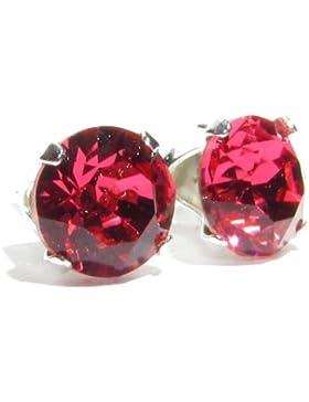 pewterhooter 925 Sterling Silber Ohrstecker Ohrringe handgefertigt mit funkelnden Indian Pink Kristall aus SWAROVSKI®.