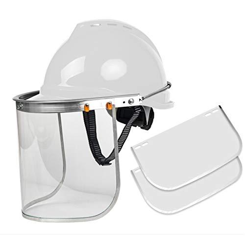 WQQTT Arbeitshelm Arbeitsschutzhelm industrielle transparente Sicherheitsmaske und breite Sonnenblende Schutzhelm (Color : White)