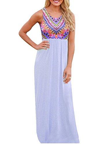 MEXI Sommerkleid Damen Lang Chiffon High Waist Striped Sleeveless Beach Kleid Partykleid Elegant Himmelblau