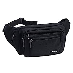 FREETOO Marsupio con 5 Tasche Marsupio Bum Bag cintura regolabile singola spalla per escursionismo casuale bicicletta nera Nero
