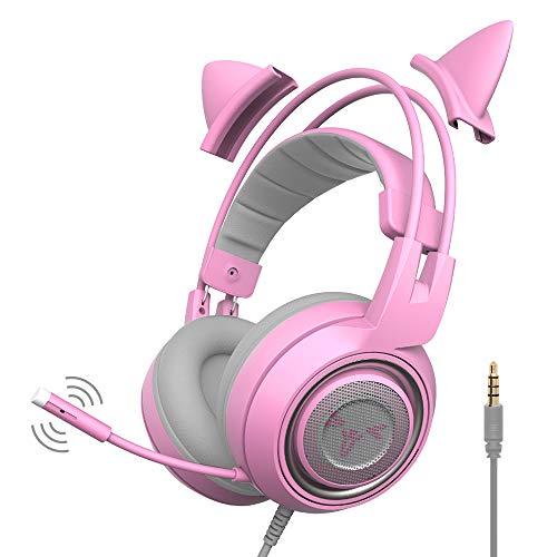 SOMIC G951S Casque de jeu avec microphone, Casque d'écoute pour fille avec oreille de chat rose avec câble de 3,5 mm pour Xbox One, Nintendo Switch, PS4, iPhone, iPad