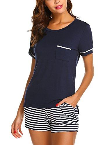 UNibelle Damen Pyjama Schlafanzug Baumwolle Kurz Nachtwäsche Nachthemd Hausanzug Kurzarm für Sommer