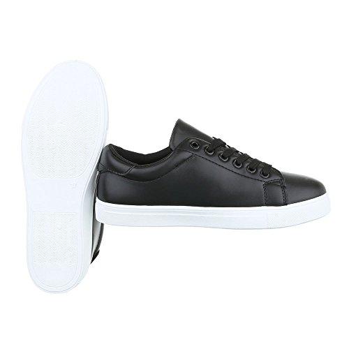 Low-Top Sneaker Damenschuhe Low-Top Sneakers Schnürsenkel Ital-Design Freizeitschuhe Schwarz 89-86